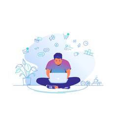 working online with laptop at home cute man vector image