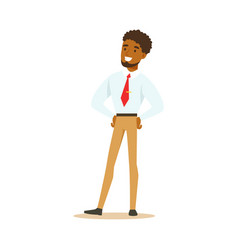 Young smiling african american businessman vector