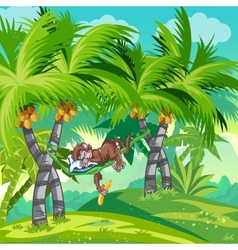 Childrens of the jungle with a sleeping monkey vector image