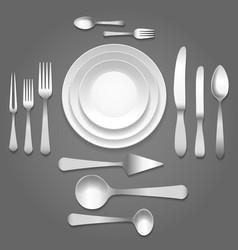 dinnerware top view vector image vector image
