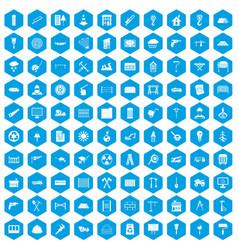 100 building materials icons set blue vector