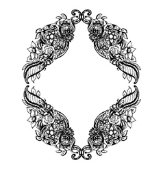 Abstract black and white floral frame vector image vector image