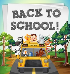 Back to school theme with animals on bus vector