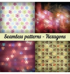 Hexagons Set of seamless patterns Abstract vector image
