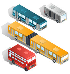 modern city buses isometric collection vector image