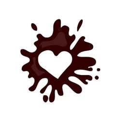Realistic hot chocolate heart splash vector image