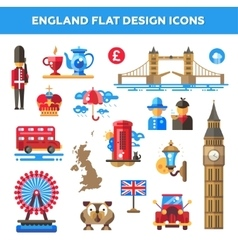 Set of flat design England travel icons vector image