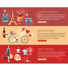 Set of France travel horisontal banners with place vector image vector image