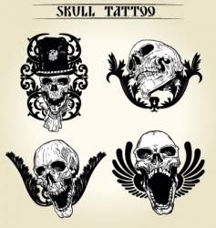 set skull tattoo vector image