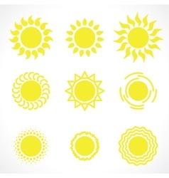 yelow sun symbols vector image