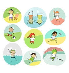 collection of team sports cartoon vector image vector image