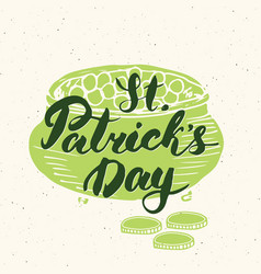Happy st patricks day vintage greeting card hand vector