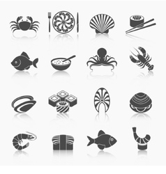 Seafood icons set black vector image vector image