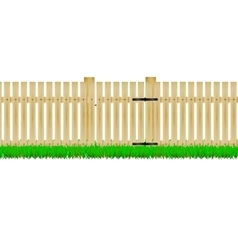 Wooden fence with the door vector image