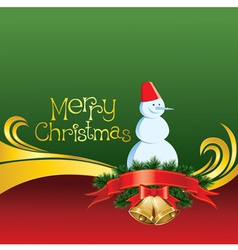 2012 christmas card with jingle bells and snowman vector image