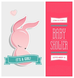 Baby shower invitation bunny girl vector image