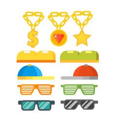 fashion gold jewelry sunglasses retro accessory vector image