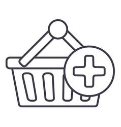 shopping cart plus line icon sign vector image vector image