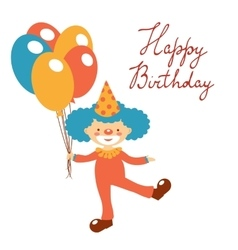 Stylish Happy birthday card with cute clown vector image vector image