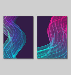 Abstract backgrounds set with vertical wavy line vector