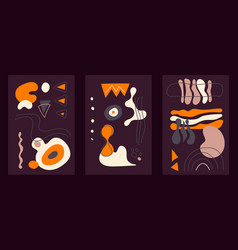 abstract hand drawn cards with dark background vector image