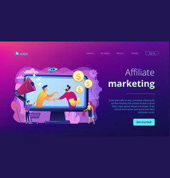 Affiliate marketing concept landing page vector