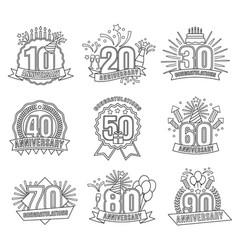 anniversary line numbers set vector image
