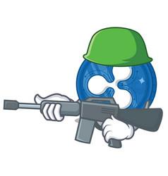 Army ripple coin character cartoon vector
