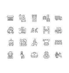 baggage line icons signs set outline vector image