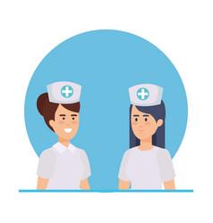 Beautiful nurses medical characters vector