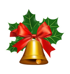bell with a red ribbon and mistletoe vector image