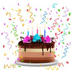 Birthday cake realistic design concept vector