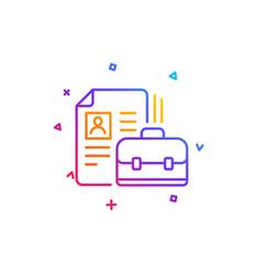 business case with cv line icon portfolio sign vector image