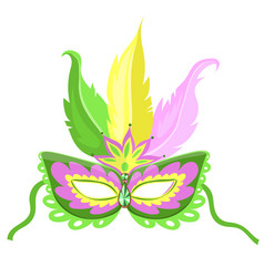 carnival mask with feathers isolated on a white vector image