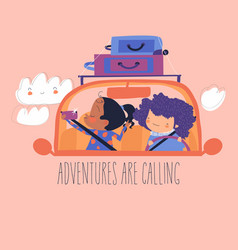 Cartoon happy girls travelling car with luggage vector