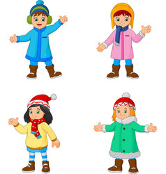 cartoon little girls wearing winter clothes vector image