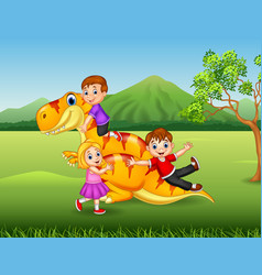 cartoon little kid playing with a dinosaur vector image