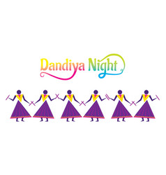 Celebrate navratri festival with dancing dandiya vector