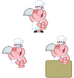Chef Pig Collection vector image