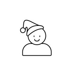 christmas hat man icon christmas and new year vector image