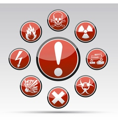 Circle Danger hazard sign collection vector