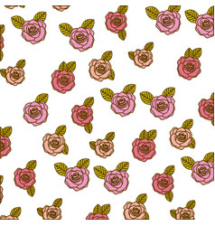 Color pencil drawing of pattern with roses and vector