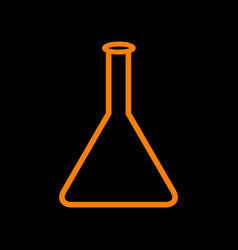 conical flask sign orange icon on black vector image