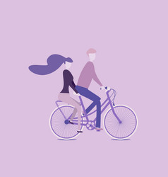 couple riding together on a bicycle love is all vector image