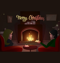 Couple sitting near fireplace merry christmas and vector