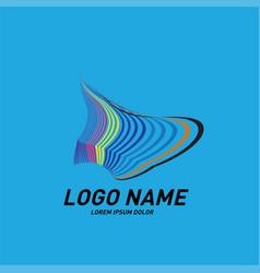 Curvy and stripes simple logo design vector