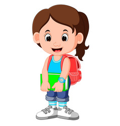 Cute girl go to school cartoon vector