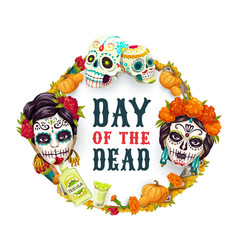Day dead mexican catrina calavera woman skull vector