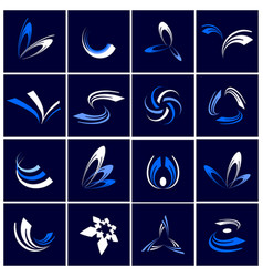 design elements set abstract icons in blue an vector image