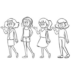 different characters of women vector image